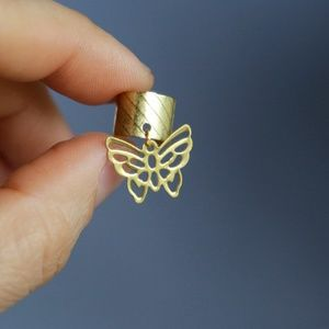 Dainty Butterfly Ear Cuff, Raw Brass, Handmade 🌸